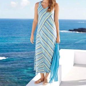 J. Jill Blue Lotus Multi Stripe Linen Maxi Dress M